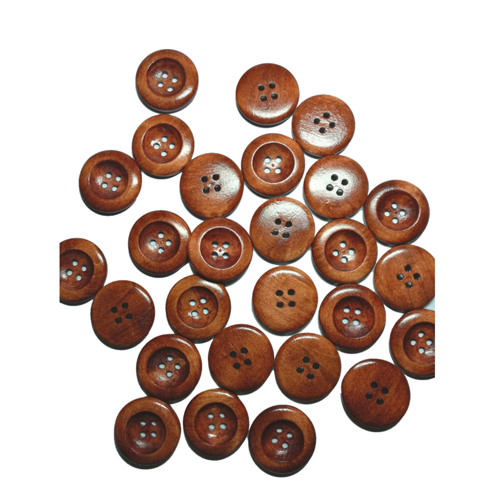 50Pcs 25mm 4 Holes Round Wood Sewing Buttons 25mm(1) Dia Natural Pattern Craft Decorative