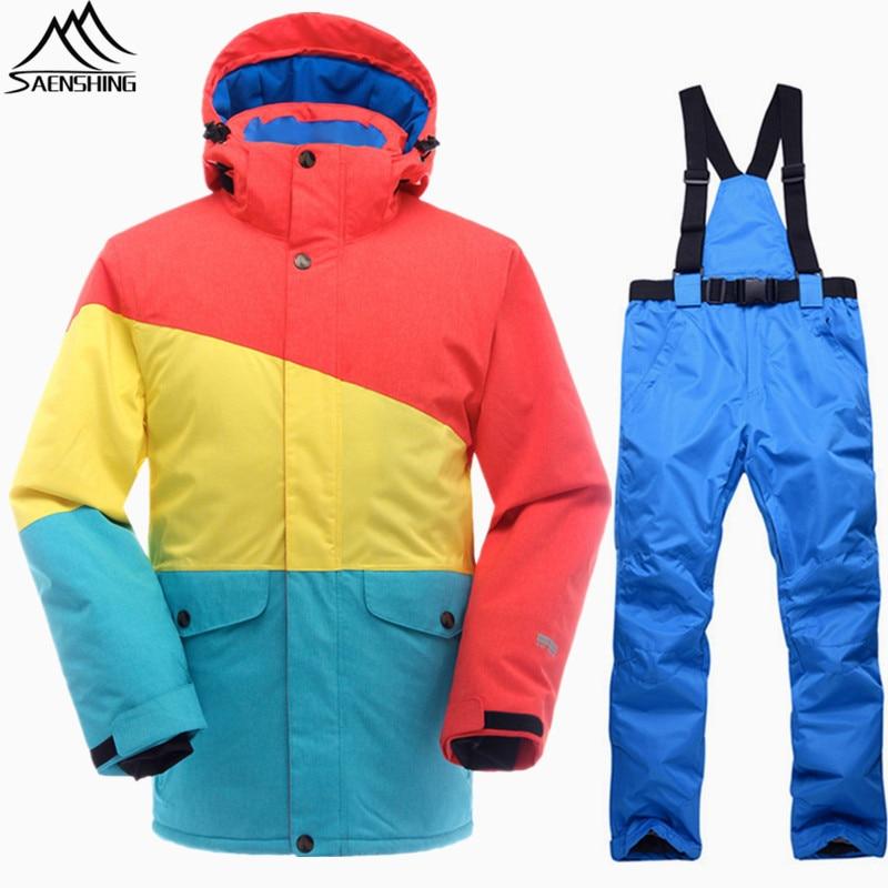 SAENSHING Snowboarding Suits Men Winter Ski Suit Thermal Waterproof Snowboard Jacket Ski Pants Breathable Snow Suit Outdoor Ski