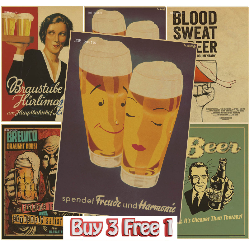 Funny Beer Poster Retro Kraft Paper Vintage Bar Cafe Home Decor Painting Wall Stickers In From Garden On Aliexpress