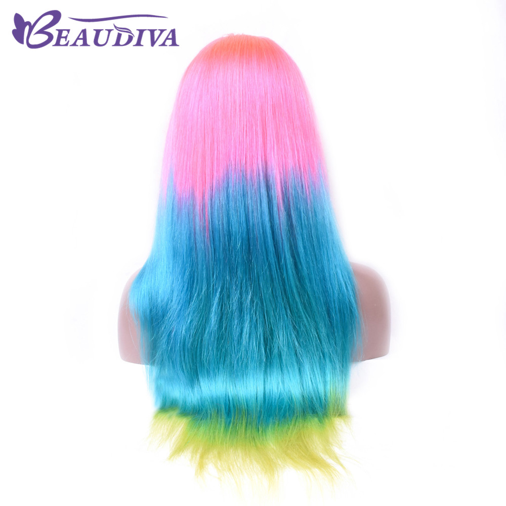 Beaudiva Brazilian Wigs Lace Front Human Hair Wigs 3 Tone Ombre TPink Blue Yellow Color Remy