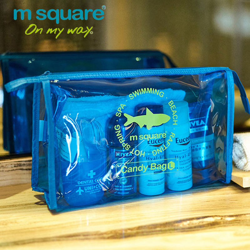 M Square Beautician Transparent Travel Cosmetic Bag For Make Up Organizer Wash Toiletry Bag Candy Color Women Makeup Hand Clutch ladsoul 2018 women multifunction makeup organizer bag cosmetic bags large travel storage make up wash lm2136 g