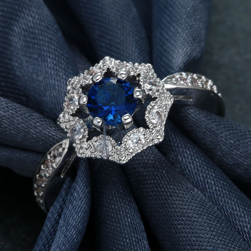 Blue Sapphire Crystal Rhinestone White Gold Filled Ring