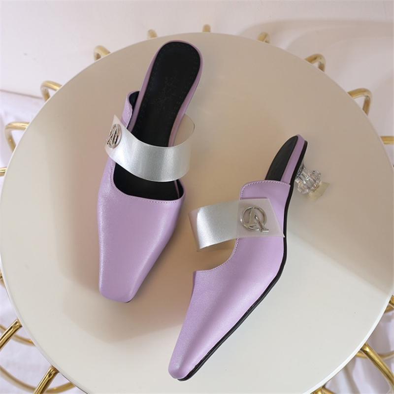 MSSTOR Square Toe Transparent Slippers PU Fashion Concise Purple Outside Mules Shoes Women Strange Style Women Summer Slippers