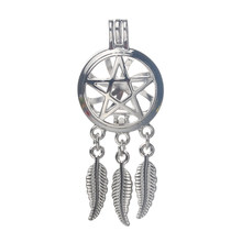 6pcs Silver Dreamcatcher Pentagram Pearl Cage Jewelry Making Bead Cage Pendant Essential Oil Diffuser Locket For Oyster Pearl(China)