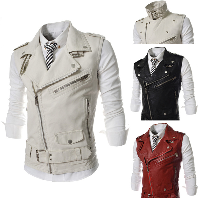 2014 New Brand Spring Large Lapel PU Leather Zipper Front Fly Mens Suits Vest Casual Waistcoat Fashion Jacket for Men M-XXL