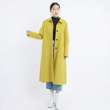 2019 autumn and winter long coat women wool coats jackets korean A-line green yellow