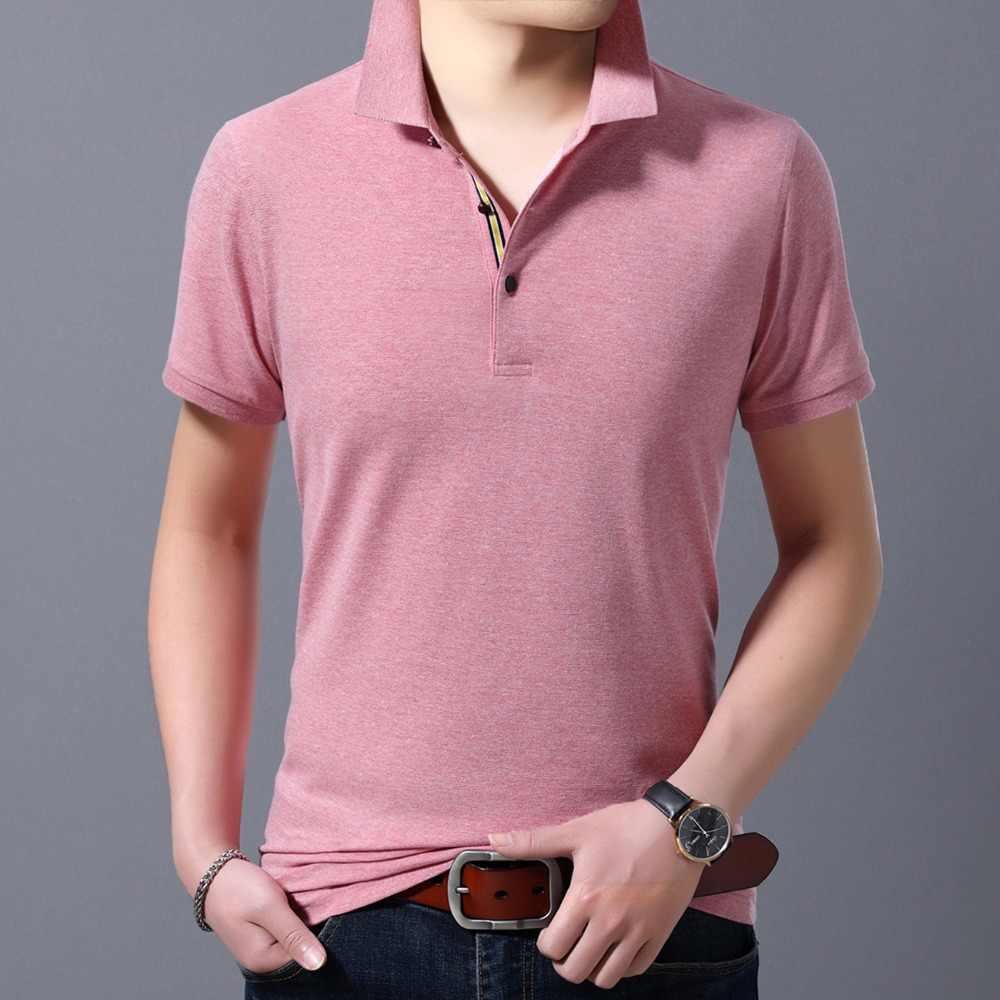 メンズ米国ポロシャツ 2019 ファッションスノーフレーク夏新半袖ターンダウン襟通気性シャツ固体マンポロ E3338