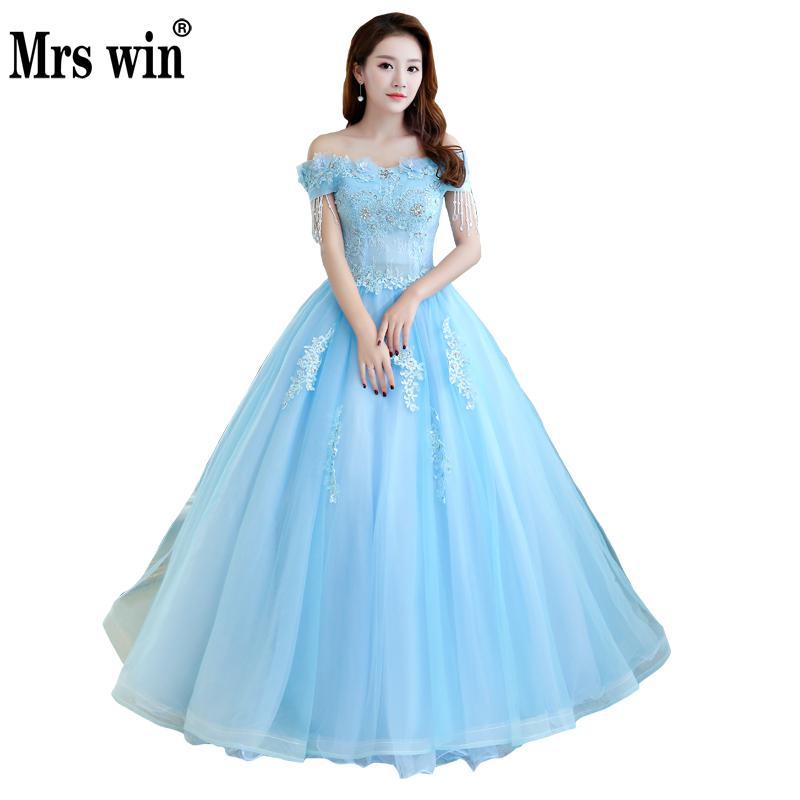 Quinceanera Dresses Mrs Win The Elegant Boat Neck Off The Shoulder Lace Beading Party Prom Luxury