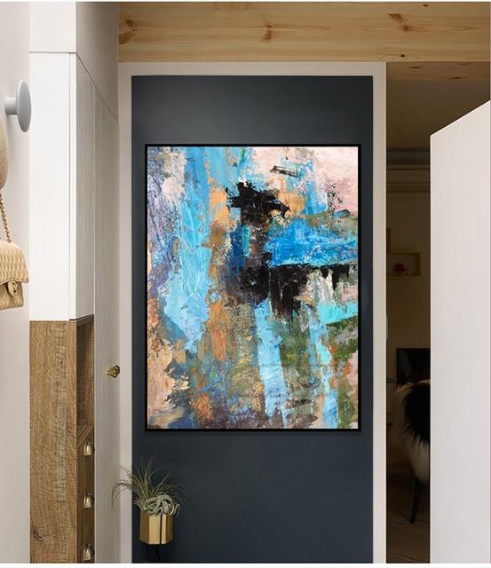 Large abstract painting canvas blue laminas de cuadros pared decorativas habitacion wall art canvas paintings for living room