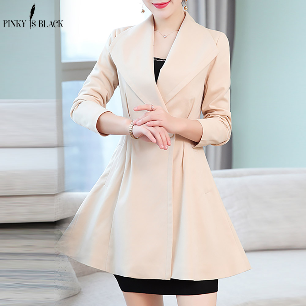 PinkyIsBlack New Fashion 2019 Spring Autumn Casual Double Breasted Simple Long Trench Coat Women Chic Skirt Female Windbreaker