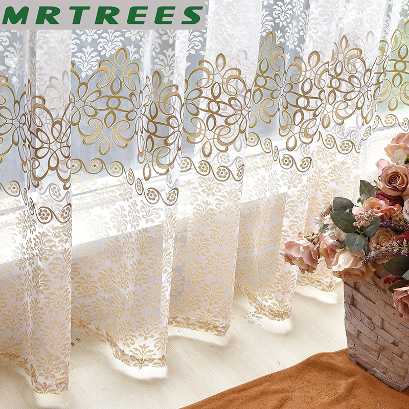 Floral Modern Bedroom Sheer Curtains Tulle Drapes Curtain For Living Room The Kitchen Voile Sheer French Curtains On The Window