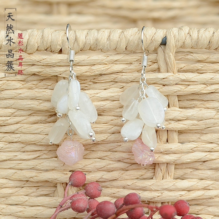 Дизайнерский женский темперамент Южная Корея натуральный кристалл серьги джокер характер кластеры серьги капли кулон серьги