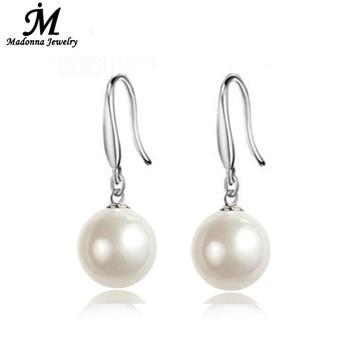 2016 High Quality Fashion Fine simulated Pearl stud Earrings Silver plated Jewelry For Women Party Jewelry