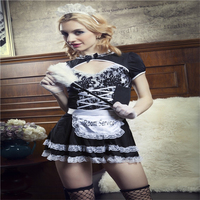 2018 Sexy Cosplay Costumes Adult Women French Maid Role playing Clothes Halloween Erotic Uniforms Black Lace Nightwear Hot 141