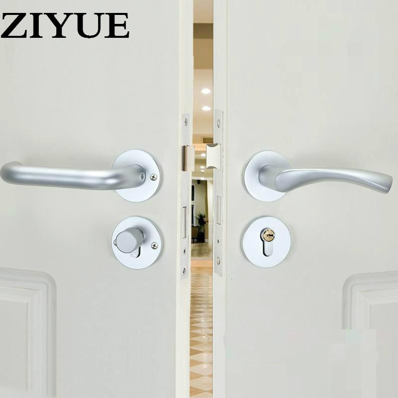 Livraison gratuite Simple sable blanc espace aluminium porte intérieure en bois vestiaire porte serrure all-match Split poignée serrure