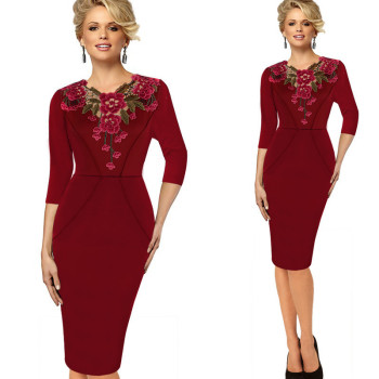 Half Sleeve Lace Flower Pencil Office Dresses5