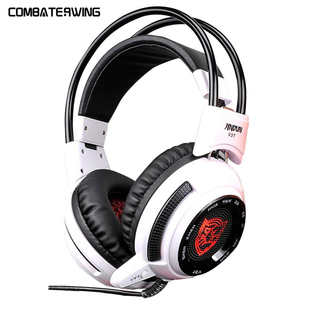 bilder für JD-V3T Weiß 5,1 Surround Sound Gaming Kopfhörer Spiel Headset mit Mikrofon LED Licht für Laptop PC Spiel