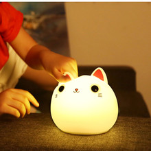 Cartoon Silicone Cat Night Light USB Rechargeable Touch Sensor Colorful LED Animal Lamp Sleeping Light for Children Baby Gift colorful usb rechargeable silicone lamp cat kitten led night light soft cartoon baby kids lamp xmas new year gift drop shipping
