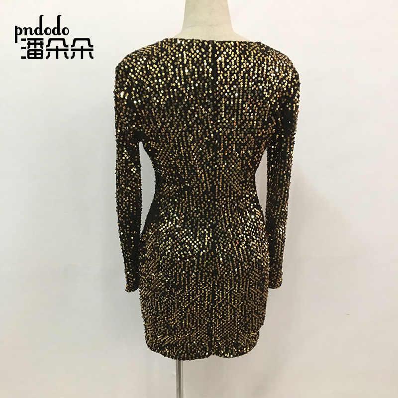 ... Pndodo New Style Women Sexy Club Dress Femme Party Night Club Sequin  Dress Long Sleeve Celebrity 8c93fbf81421