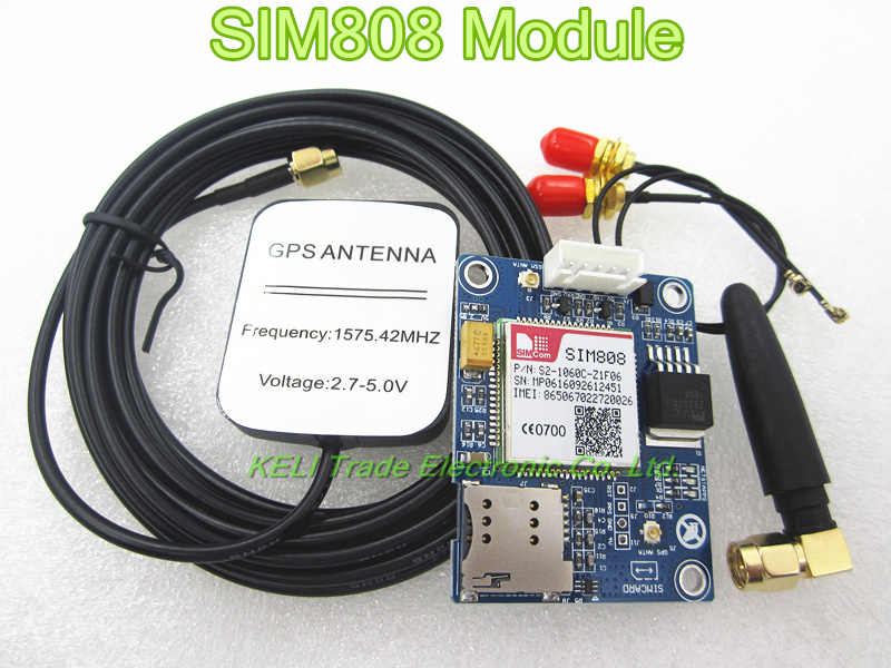 SIM808 Module GSM GPRS GPS Development Board IPX SMA with GPS Antenna Raspberry Pi Support 2G 3G 4G SIM Card sim800 quad band add on development board gsm gprs mms sms stm32 for uno exceed sim900a unvsim800 expansion board