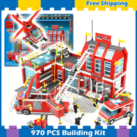 970pcs New City Fire Station Truck Firefighter Helicopter 911 Large Model Building Blocks Sets Construction Compatible with Lego