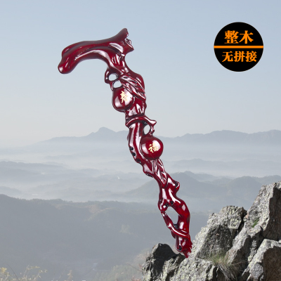 Stick old wood carved dragon red sandalwood stick mahogany cane for the elderly old collectible
