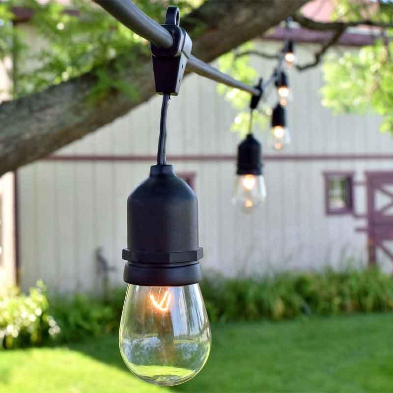 48 Ft 14.4M Black Commercial Medium Suspended Socket String Light & S14 Clear Glass Bulbs For AU Market Christmas Patio Lights