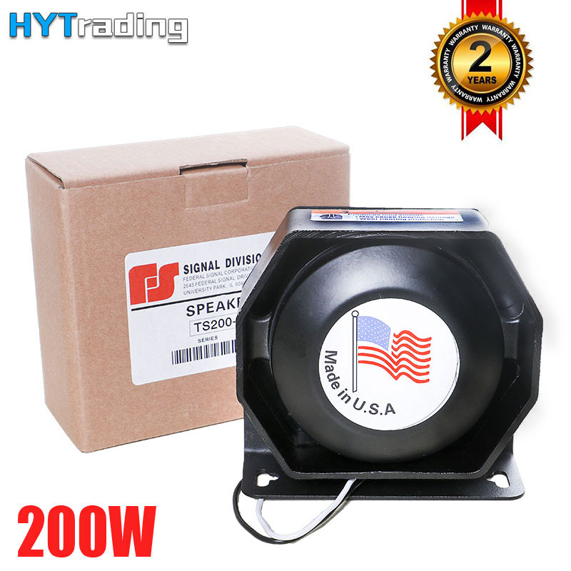 1pc Car Horns 200W PA Flat Speaker 12V Megaphone Electronic Speaker For Emergency Truck Black Metal