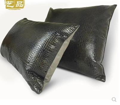 American black pu leather cushion cover pu lumbar pillow cover backrest waist pillow case sofa decor