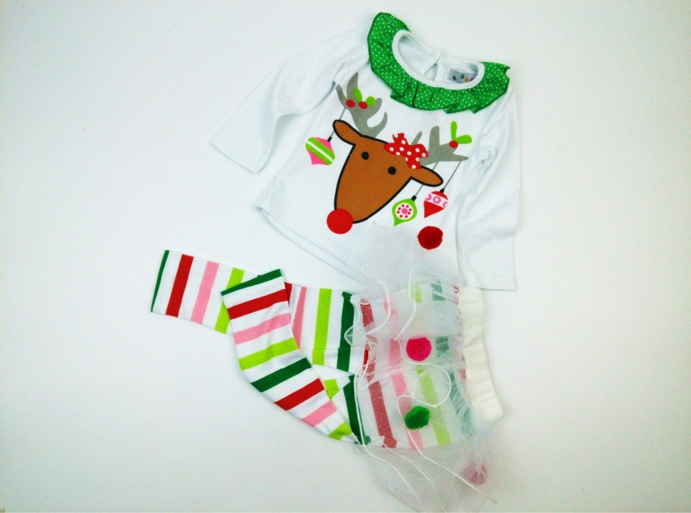 2PCS/0-5Years/Christmas Baby Girls Clothing Sets Cartoon Cute T-shirt+Stripe Pants Costume For Kids Suit Children Clothes BC1329