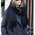 Alta Calidad Bufandas Ponchos Bufanda de Invierno de Lana para Mujer Borla Larga Sólido Virginal Marca de Lujo Caliente de gran tamaño bufanda para Gife