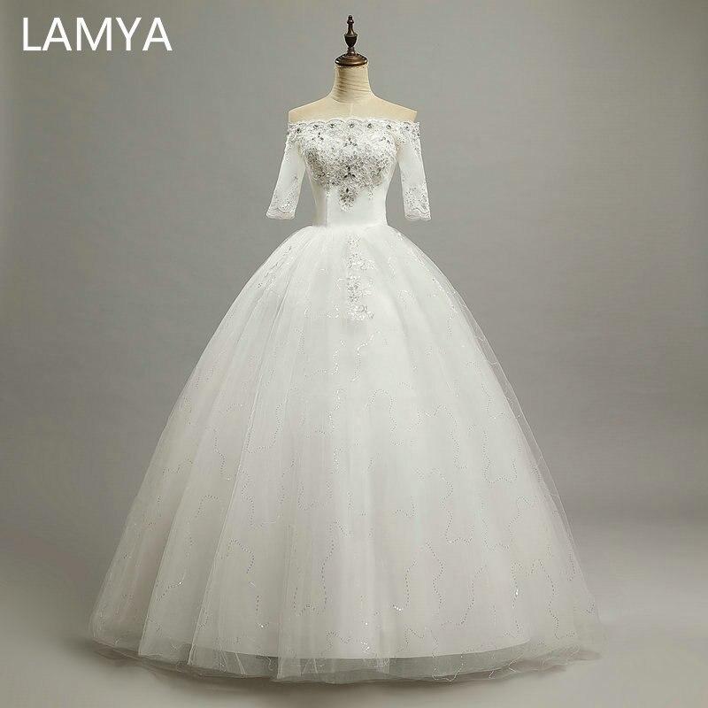 Half Sleeve Wedding Dress 2019 Vintage Boat Neck Cheap Plus Size Bride Gown Robe De Mariage Vestido De Noivas Renda Sereia