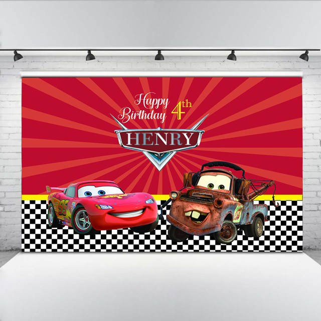 Happy 4th Birthday Backdrop Car Cartoon Banners for Boys Red Background Black and White Plaid Backdrops for Photo Studio