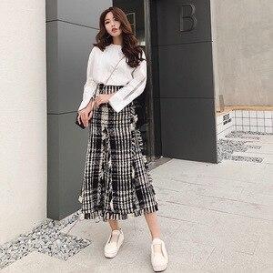 Image 2 - LONG SKIRTS WOMEN GIRL SKIRT 2018 show thin tweed grid show legs long qiu dong irregular knitted long restoring ancient ways