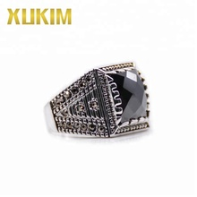 Xukim Jewelry Copper Black Cubic Zirconia Crystal Opal Mens Ring Fashion