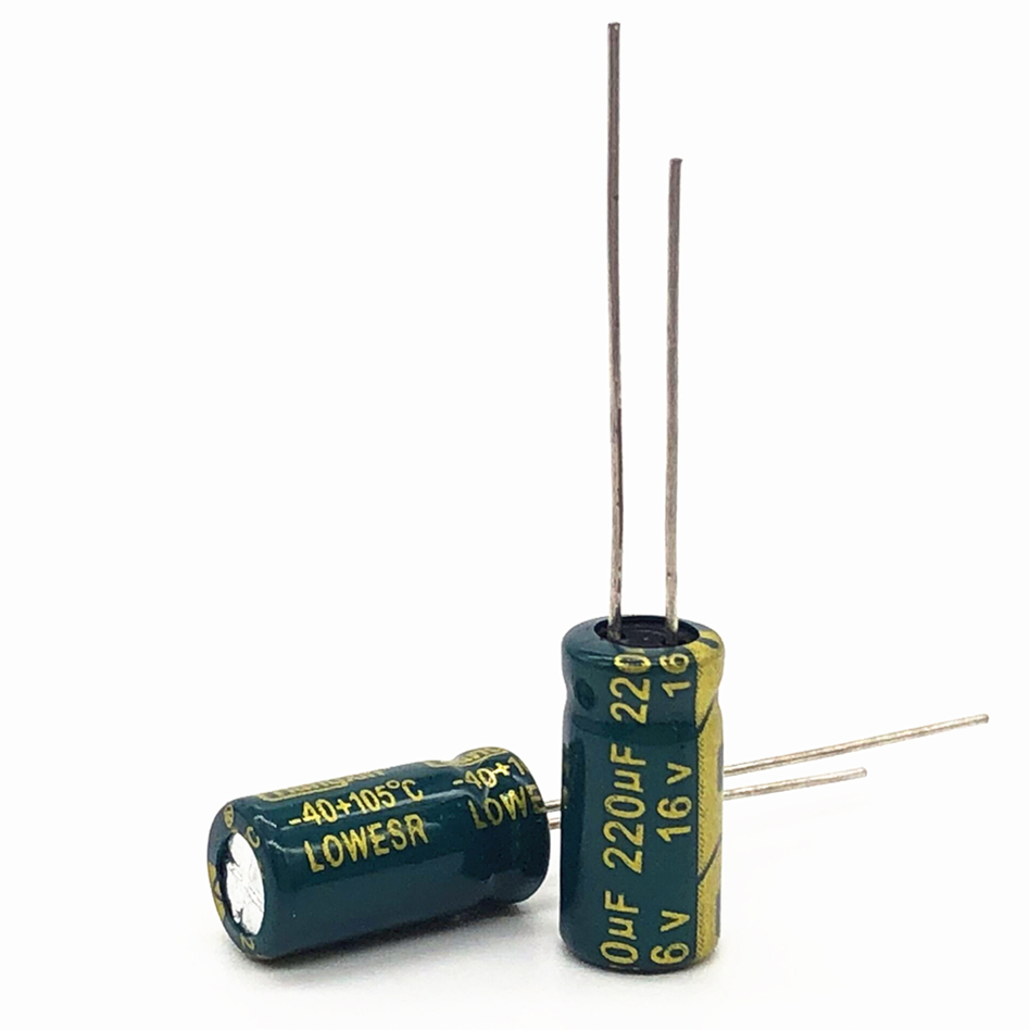 100pcs <font><b>16V</b></font> <font><b>220UF</b></font> 6*12 high frequency low impedance aluminum electrolytic capacitor <font><b>220uf</b></font> <font><b>16v</b></font> 20% image