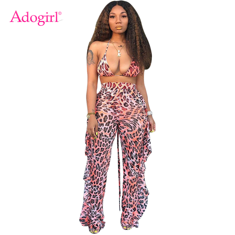 Adogirl Leopard Print Summer Mesh Two Piece Set Halter Bra Top Ruffle Wide Leg Pants With Panties Sexy Beach Outfits Club Suits