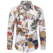 Flower Men Shirt Fashion personality Print Blouse Linen Shirts Social Plus Size M-5XL New Arrival