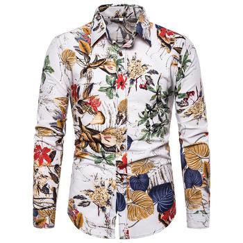 Flower Men Shirt Fashion personality Print Blouse Men Linen Shirts Men Social Plus Size M-5XL New Arrival men lion print high low blouse