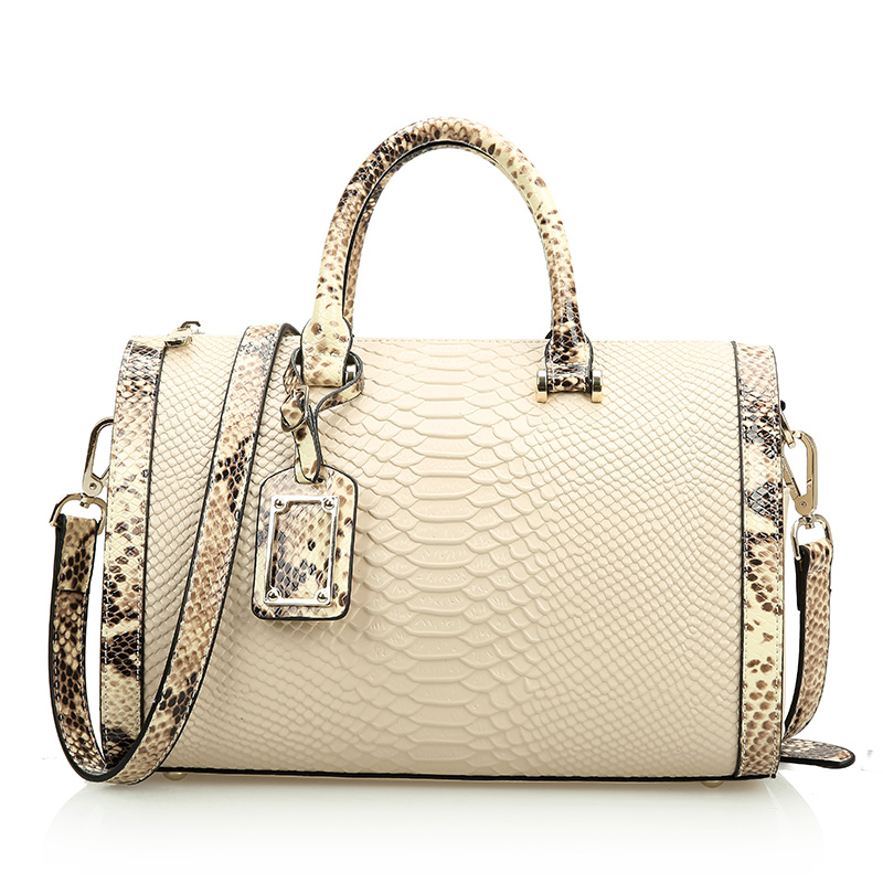 Factory price women Genuine leather bag big Boston handbag Split leather Serpentine shoulder bag snake pattern Satchel tote Bags new split leather snake skin pattern women trunker handbag high chic lady fashion modern shoulder bags madam seeks boutiquem2057