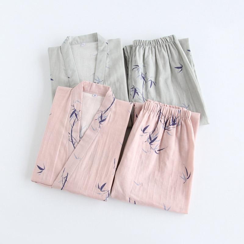 Women Men Spring Summer Cotton Kimono   Pajamas     Set   2PCS Sleepwear Couples Homewear Half Sleeve Long Pants bamboo prints design