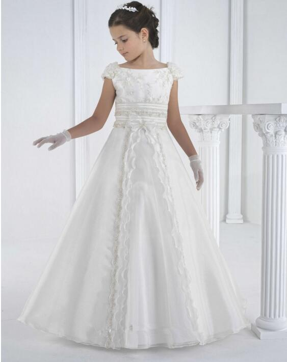2019 New Girls First Communion Dress White Ivory Flower Girls Dress Lace Beaded Girls Pageant Gown Christmas Dress Any Size цены онлайн