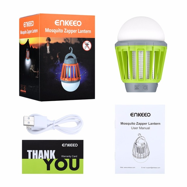 Enkeeo Portable Electronics Mosquito Killer Multi-Purpose Pest Repeller Camping Light Bulb USB Charge Garden LED Mosquito Killer