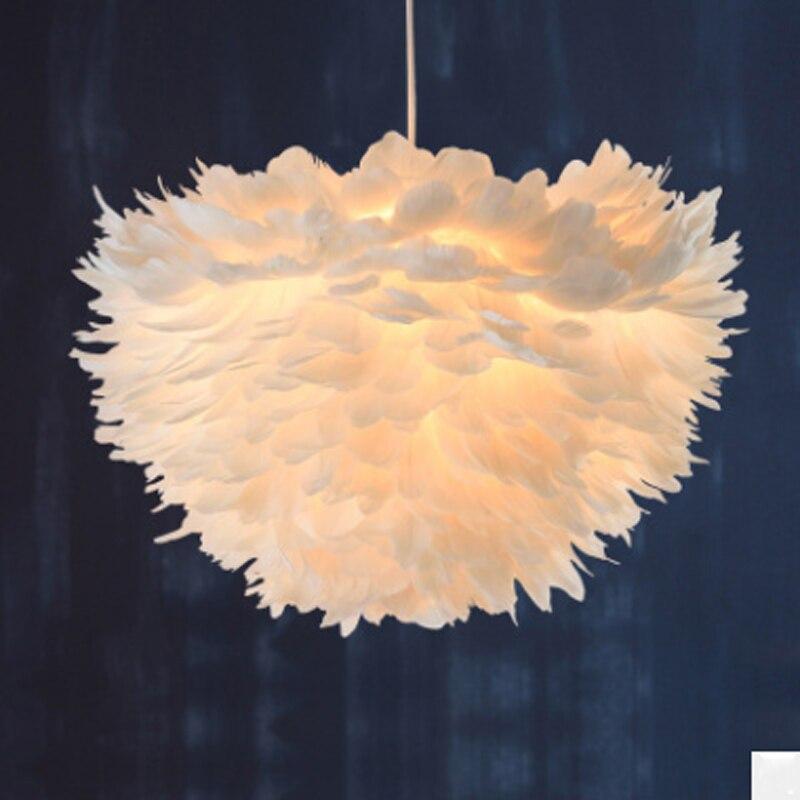 Modern Nordic white feather lamp girl bedroom decoration pendant lamp E27 hanging line lighting lamp