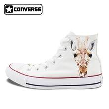Мужские и женские Converse All Star ручной росписью обувь индивидуальный дизайн животных Жираф человек женские высокие кроссовки белого холста