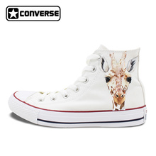 Men Women Converse All Star Hand Painted Shoes Custom Design Animal Giraffe Man Woman s High
