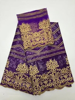 purple and gold embroidered fabric bazin riche fabric nigerian gele headtie net lace with beads woman blouse 5+2yard/lotL