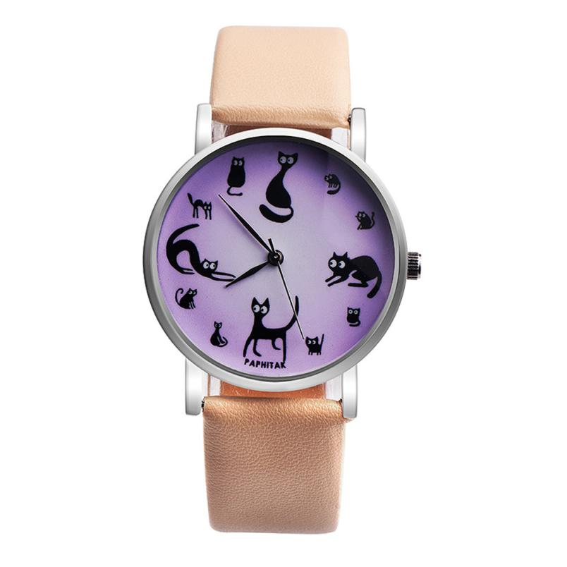 Hot sale Ladies Watch Women Fashion Women Watch Cute Cat Faux Leather Analog Quartz Watch Top Gifts 30p