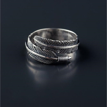 Retro High-quality 925 Sterling Silver Jewelry Thai Silver Female Personality Feathers Arrow Open Ring 1