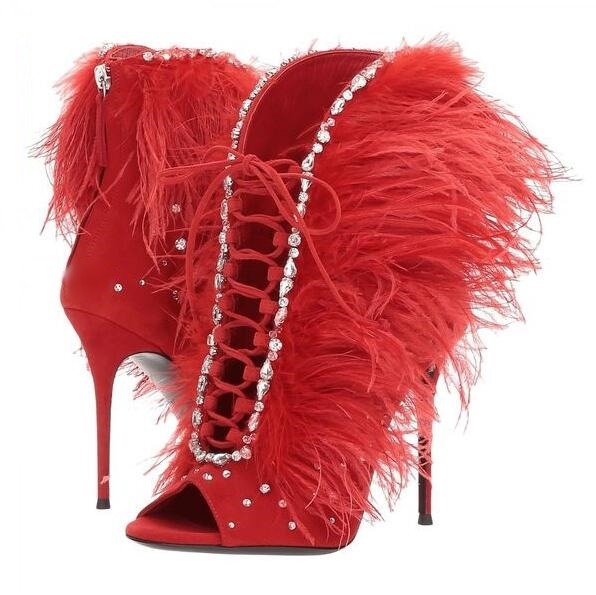 Sexy Red Ankle Boots Peep Toe Lace Tie-up Feather Women High Boots Deep V Style Crystal Embelished Latex Thigh High Boots